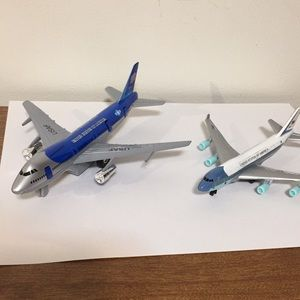 """Two toy airplanes, metal, 7"""" and 5 1/2"""", USAF,"""